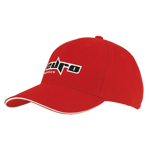 Brushed Heavy Cotton Cap - Red/White Branded