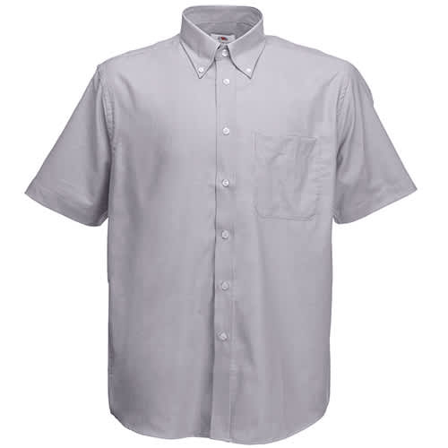 Fruit of the Loom Mens Short Sleeve Oxford Shirt - Oxford Grey