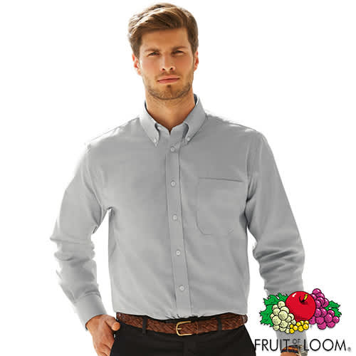 Fruit of the Loom Men's Long Sleeve Oxford Shirt - Oxford Grey